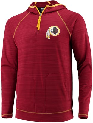 Redskins Unbranded Men's Hands High Burgundy Washington Interval Space Dye Raglan Sleeve Quarter-Zip Pullover Hoodie