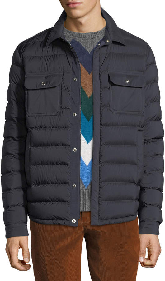 Moncler Men's Caph Snap-Front Puffer Jacket