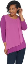 Halston H By H by Scoop Neck Top with Chiffon Drape Detail
