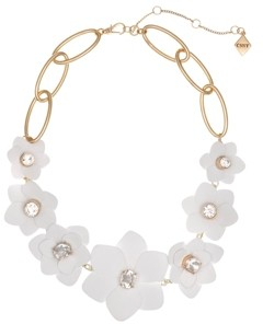 Christian Siriano New York Gold Tone and White Flower Collar Necklace