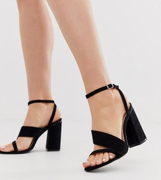 Raid Wide Fit Jady black block heeled sandals