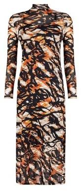 Dorothy Perkins Womens Brown Animal Print Mesh Midi Dress, Brown
