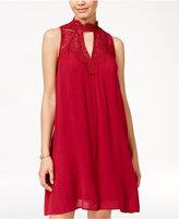 Sequin Hearts Juniors' Lace-Trim Shift Dress