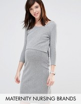 Mama Licious Mama.licious Mamalicious Nursing Double Layer Ribbed Dress