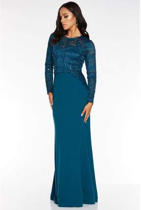 Quiz Teal Sequin Lace Long Sleeve Maxi Dress