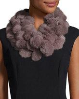 Adrienne Landau Rabbit Fur Pompom Scarf, Mauve