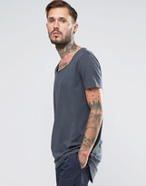 Asos Super Longline T-Shirt With Scoop Neck And Circle Hem In Slate