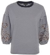 Topshop Embroidered balloon sleeve stripe t-shirt