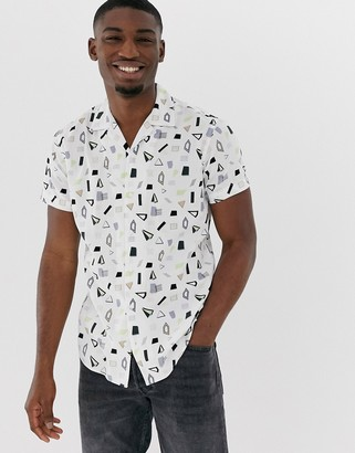 Jack and Jones slim fit shirt in geometric print with revere collar-White