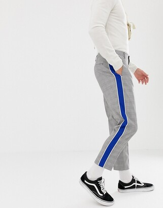 Asos DESIGN tapered smart pants in prince of wales check with side stripe