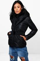 boohoo Mia Hooded Quilted Coat