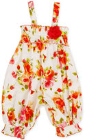 Bonnie Baby Romper, Baby Girls Poplin Floral Party Pant Romper