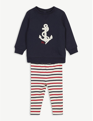 Ralph Lauren Anchor top and striped leggings set 3-24 months