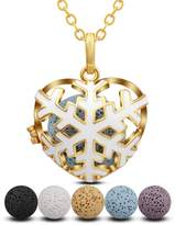 """INFUSEU Lava Rock Diffuser Necklace Aromatherapy Essential Oil Pendant Snowflake Locket + 5PCS Stone Beads + 30"""" Chain Silver Plated Women Heart-Shaped Scent Jewelry set"""