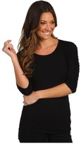 Vince Camuto Essentials 3/4 Sleeve Rouched Scoop Neck Tee (Rich Black) - Apparel