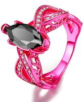 Epinki Silver Plated Women Ring Oval Hollow Elegant Ring With Black Cubic Zirconia Size 8