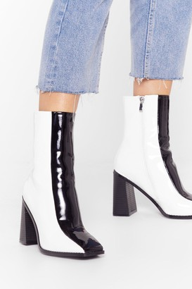 Nasty Gal Womens See Our Differences Patent Two-Tone Boots - Mono - 3