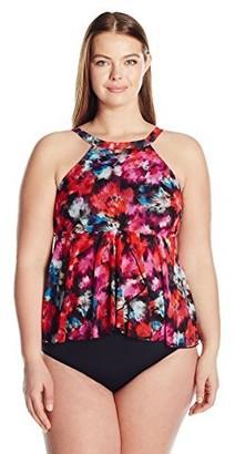 Fit 4 U Women's Plus-Size Flamenca Fit 4 Ur Hips Mesh Neck Flared Tankini
