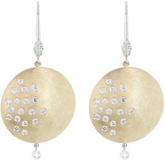 Meira T Two-Tone 14K Gold Flush Set Diamond Round Drop Earrings