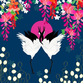 Amanda West Giclee Fine Art Print - Cranes & Wisteria