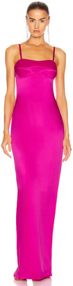 Brandon Maxwell Satin Bustier Column Gown in Electric Pink | FWRD