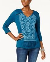 Style&Co. Style & Co Embroidered Swing Top, Created for Macy's