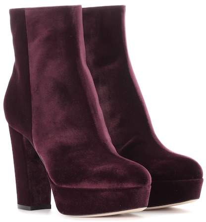 Gianvito Rossi Exclusive to mytheresa.com – Temple velvet platform boots
