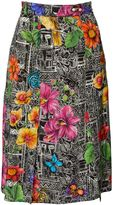 Matthew Williamson Botanical Tiwanaku Black Silk Midi Skirt