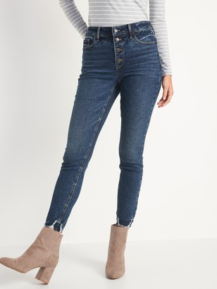 Old Navy High-Waisted Button-Fly Rockstar Super Skinny Cut-Off Ankle Jeans for Women