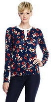 Lands' End Women's Tall Classic Supima Print Cardigan Sweater-Ivory/Black Floral