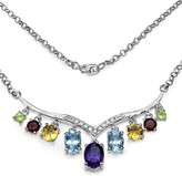 Olivia Leone Sterling Silver Assorted Gemstone Dangle Diamond Pendant Necklace