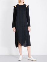 Song For The Mute Cold-shoulder strap-detail woven dress