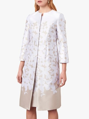Jaeger Floral Jacquard Coat, White