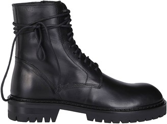 Ann Demeulemeester Black Leather Combat Boots