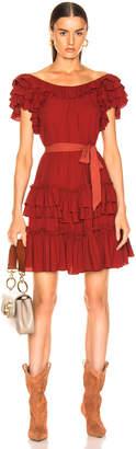 Marissa Webb Elio Crepe Mini Dress in Spiced Red | FWRD