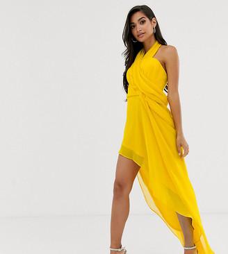 Asos DESIGN Petite midi dress in soft chiffon drape with wrap neck-Yellow