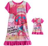 "Dreamworks DreamWorks Trolls Poppy Girls 4-10 ""Having a Rainbow Moment"" Nightgown & Doll Gown Set"