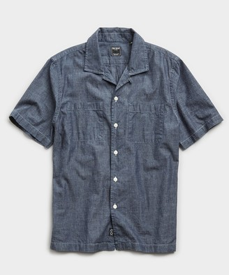 Todd Snyder Japanese Chambray Camp Collar Short Sleeve Shirt in Indigo