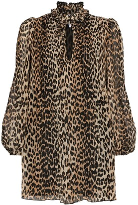 Ganni leopard print shift mini dress