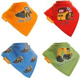 JCB Digger Bibs by Zippy, Fun Baby and Toddler Bandana Bib - Absorbent 100% Cotton Front Drool Bibs with Adjustable Snaps (4 Pack Gift Set) Joey JCB and Friends Colourful Set