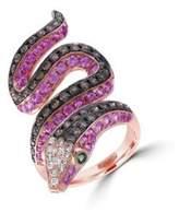 Effy Diamond, Semi-Precious, Multi-Stone and 14K Rose Gold Snake Ring, 1 TCW