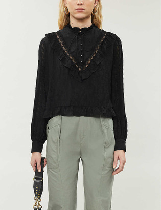 The Kooples Ruffle trim lace insert detail shirt