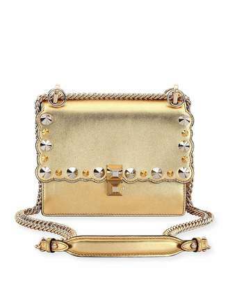 Fendi Kan I Mini Metallic Studded Chain Shoulder Strap, Gold