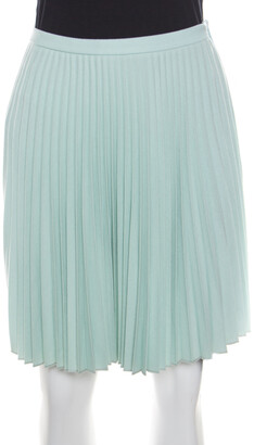 Christopher Kane Mint Green Wool Pleated Mini Skirt S