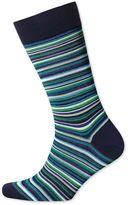 Green Multi Fine Stripe Socks Size Large By Charles Tyrwhitt