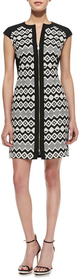 Ted Baker Etheled Diamond Zigzag Print Tunic Dress, Black