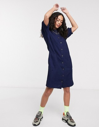 Noisy May shirt dress with puff sleeves in indigo wash