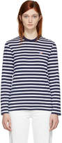 MAISON KITSUNÉ Navy and White Long Sleeve Striped Tricolor Fox T-Shirt