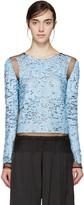 Emilio Pucci Blue Mesh & Sequin Plisse Pullover