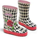 Kidorable Black Houndstooth English Rose Rain Boot